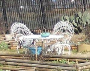 Seating for gardeners at the Carver Garden in Atlanta