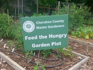 A Plot Dedicated to Feeding the Hungry at the Cherokee County Senior Center Garden.